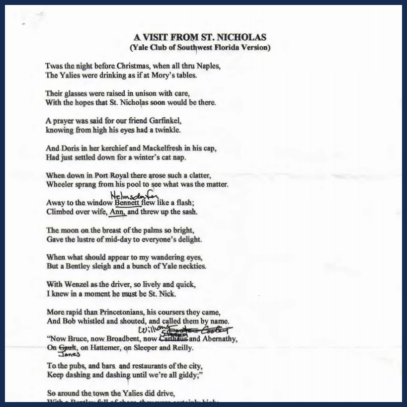 A visit from St. Nicholas - A Christmas Party Poem by Torrey Foster - Dec 2000