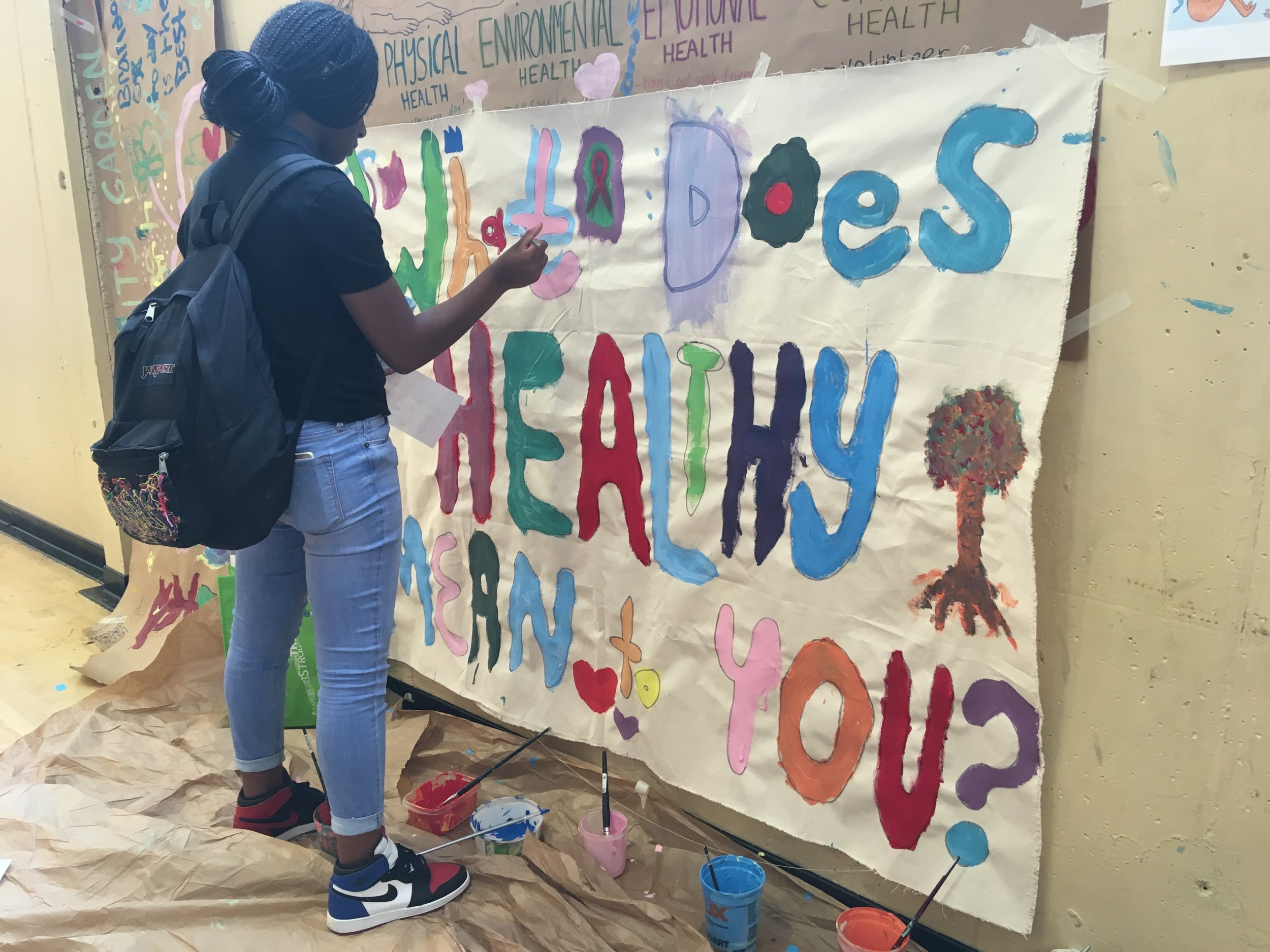 """""""What Does Healthy Mean to You?"""" Mural at West Oakland Middle School"""