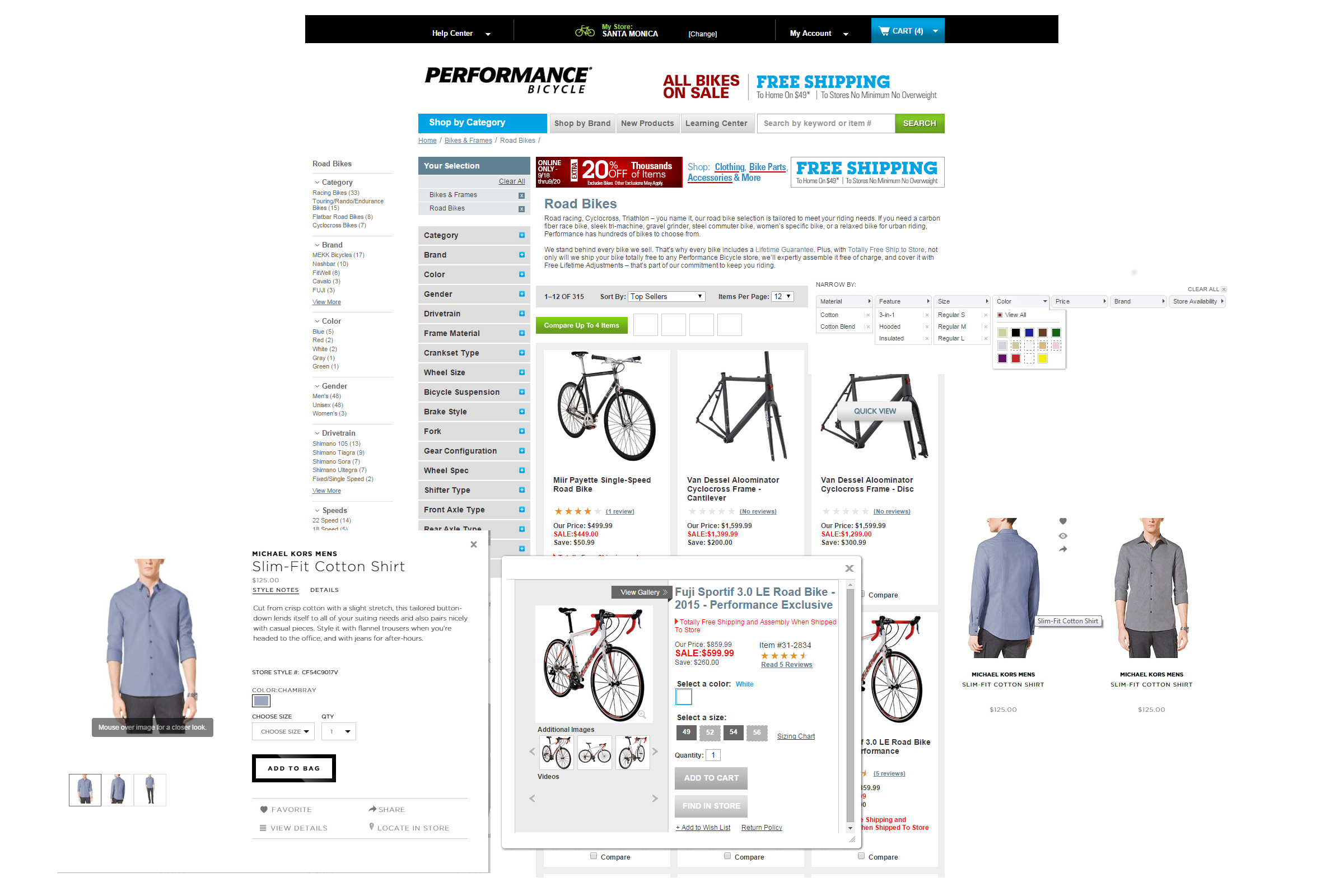 Clockwise from left: Michael Kors quickview, Nashbar left sidebar, Nordstrom filtering, Michael Kors product list. Middle: Performance Bicycle quickview popup. Background: Performance Bicycle product listing.