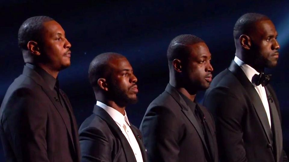 Carmelo Anthony, Chris Paul, Dwyane Wade and LeBron James at the 2016 ESPY's.