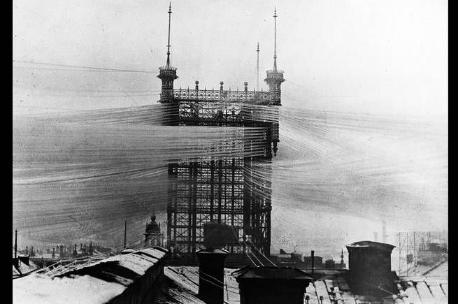An early telephone exchange, the Telefontornet, in Stockholm 1890.