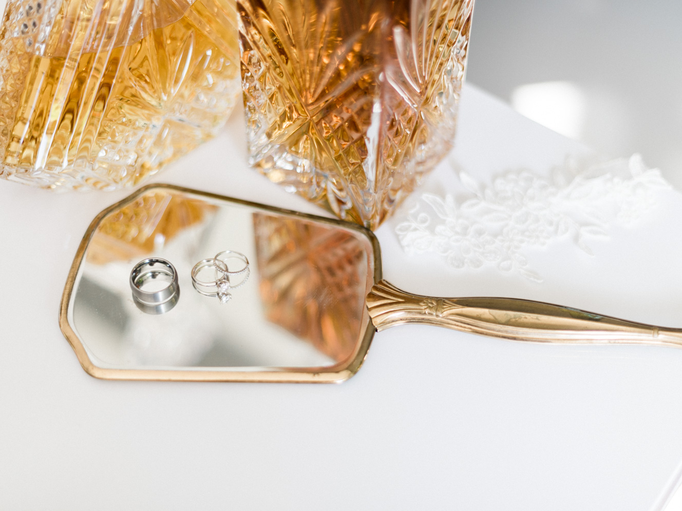 Wedding Ring Details With Lace Garter and Hand Held Vintage Mirror | kelseyandnate.com