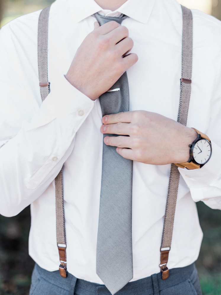 Groom's Slate Blue Tie and Tie Clip with Suspenders | Rustic Winter Wedding | Lynchburg, Virginia Film Photographer | kelseyandnate.com