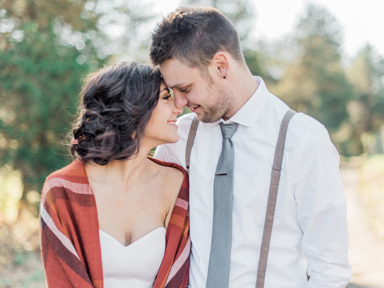 Bride and Groom Photos with Blanket Scarf | Bella Wedding Dress by Sarah Janks | Rustic Winter Wedding | Lynchburg, Virginia Film Photographer | kelseyandnate.com