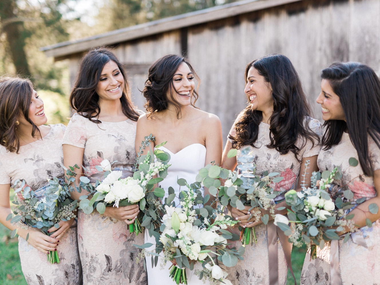 Bridesmaids in Floral Melinda BHLDN Dress | Bella Wedding Dress by Sarah Janks | Rustic Winter Wedding | Lynchburg, Virginia Film Photographer | kelseyandnate.com