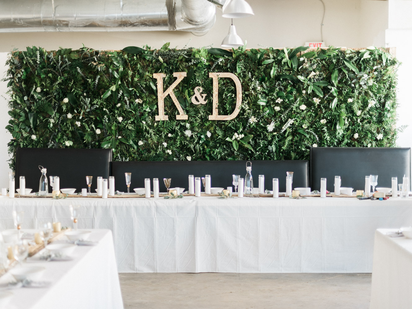 DIY Flower Wall Reception | Warehouse Venue Downtown, The Glass House | Bella Wedding Dress by Sarah Janks | Rustic Winter Wedding | Lynchburg, Virginia Film Photographer | kelseyandnate.com
