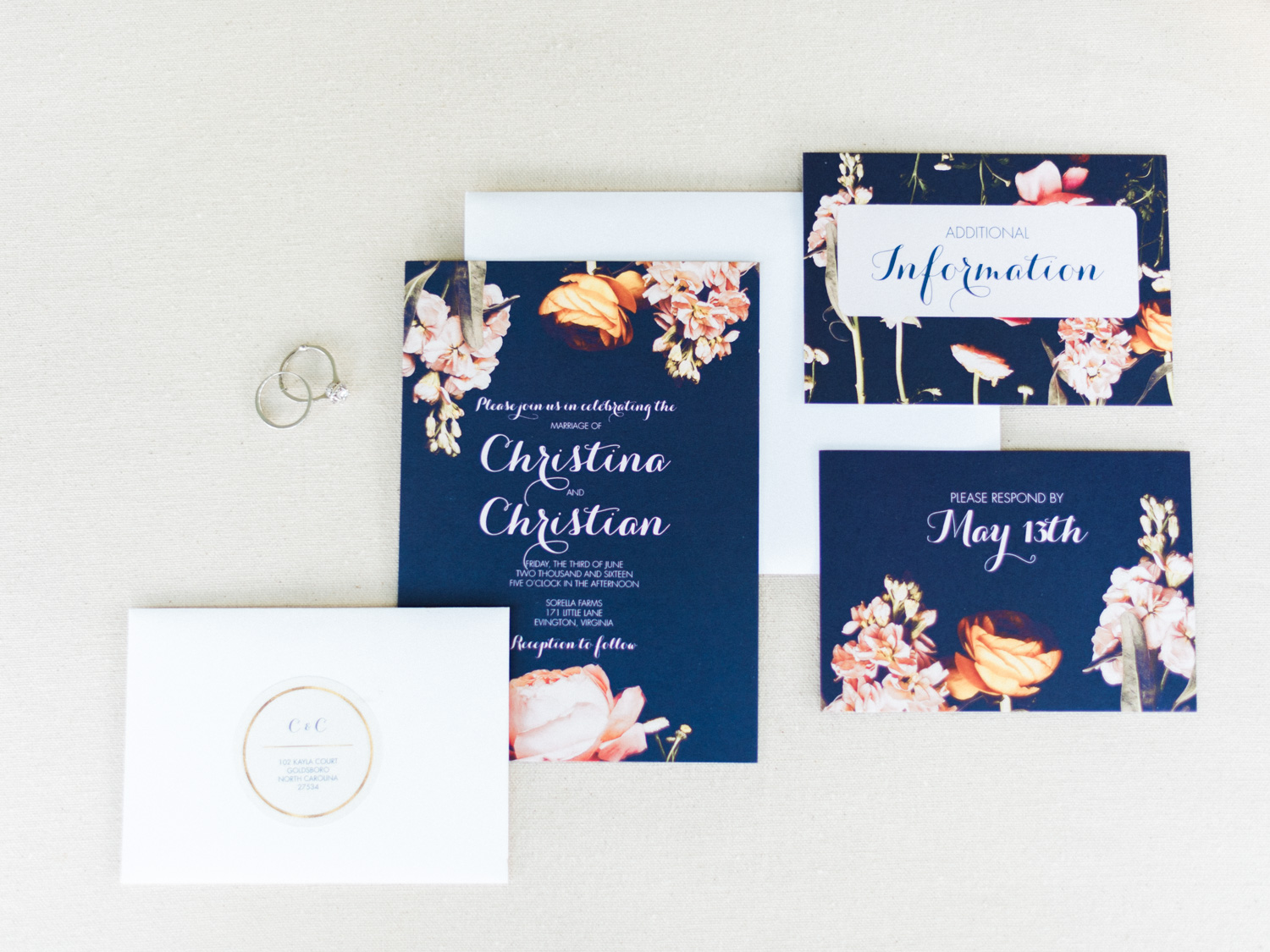 Lynchburg Virginia | Sorella Farms | Charlottesville Virginia | Wedding Photographer | Kelsey & Nate | kelseyandnate.com | Navy Blue and Floral Invitation Suite