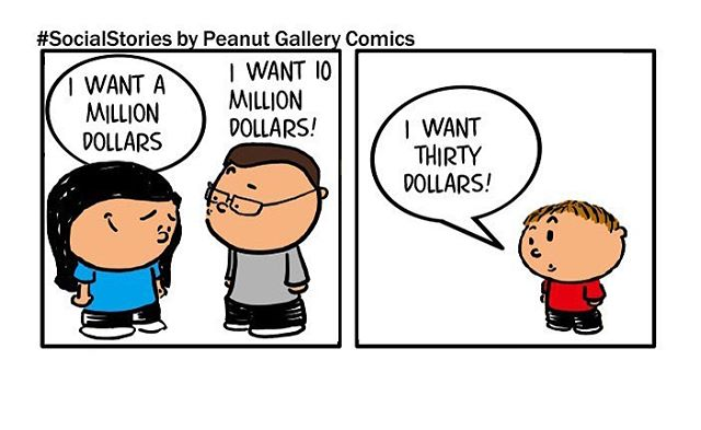 Nice to see tempered ambition. Is it too early for a value of money talk? Great story found on social and made into a comic by PeanutGalleryComics.com #kids #boymom #money