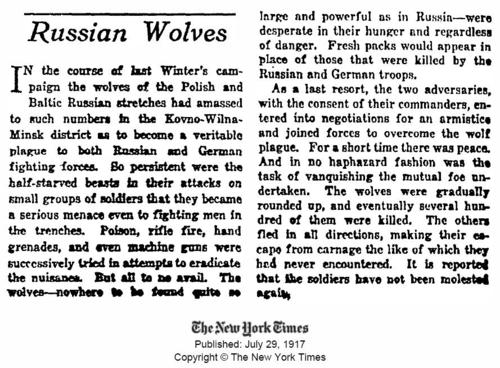 During WW-II, battling Russian and German troops agreed to a temporary truce to join forces and kill packs of wild Wolves.    The wolves, numbering in the hundreds, were attacking the troops on the front lines. Troops used poison, machine guns, and grenades to kill the wolves. Once the wolves were dealt with, the troops went back to killing each other.