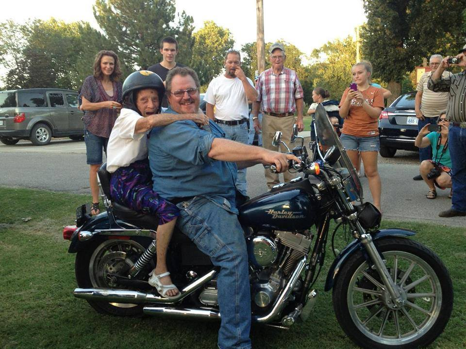 """""""Many years ago my great grandmother made a promise that if she made it to her 100th birthday, she would ride her first motorcycle. That day has come."""""""