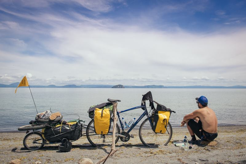 Old friend and extended BMX family member Wayne Reiche has cut loose and is currently exploring New Zealand on two wheels. Note the BMX tucked into his trailer ready to shred.