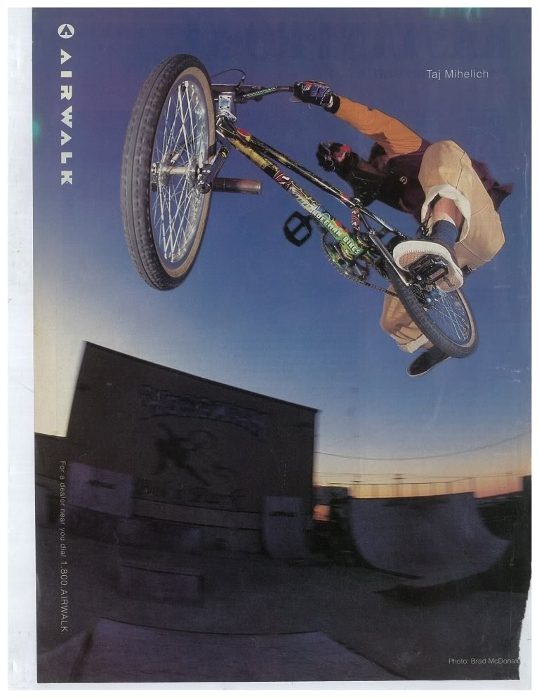 One of my all time favourite BMX pics. Taj riding a Holmes at Hoffan's park. You could get more mid school BMX into a pic if you tried.