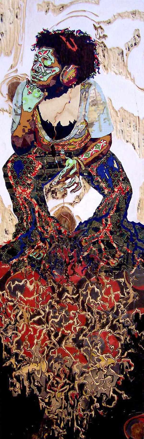 Lorna Williams-Ceremonial Act of Listening-2005-mixed media on wood-27x9.jpg