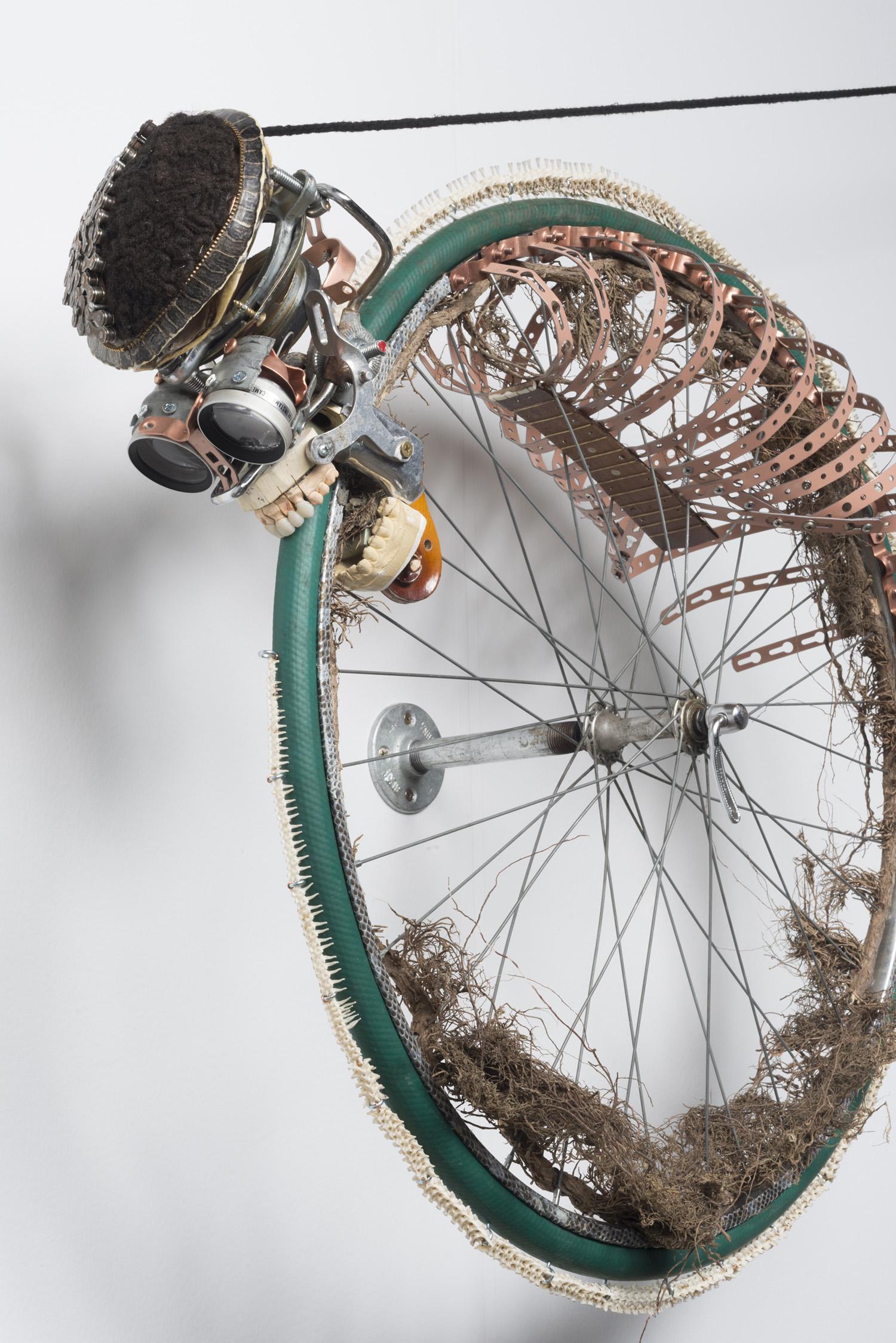 Lorna Williams-Ouroboros-2013-hair, plumbing hardware, violin parts, photography lenses, snake vertebrae, bike wheel, hose, ukulele neck, bike chain, plaster teeth, bike seat, speaker, snake shedding, root, rope, cement-88x60x13-detail-1.jpg