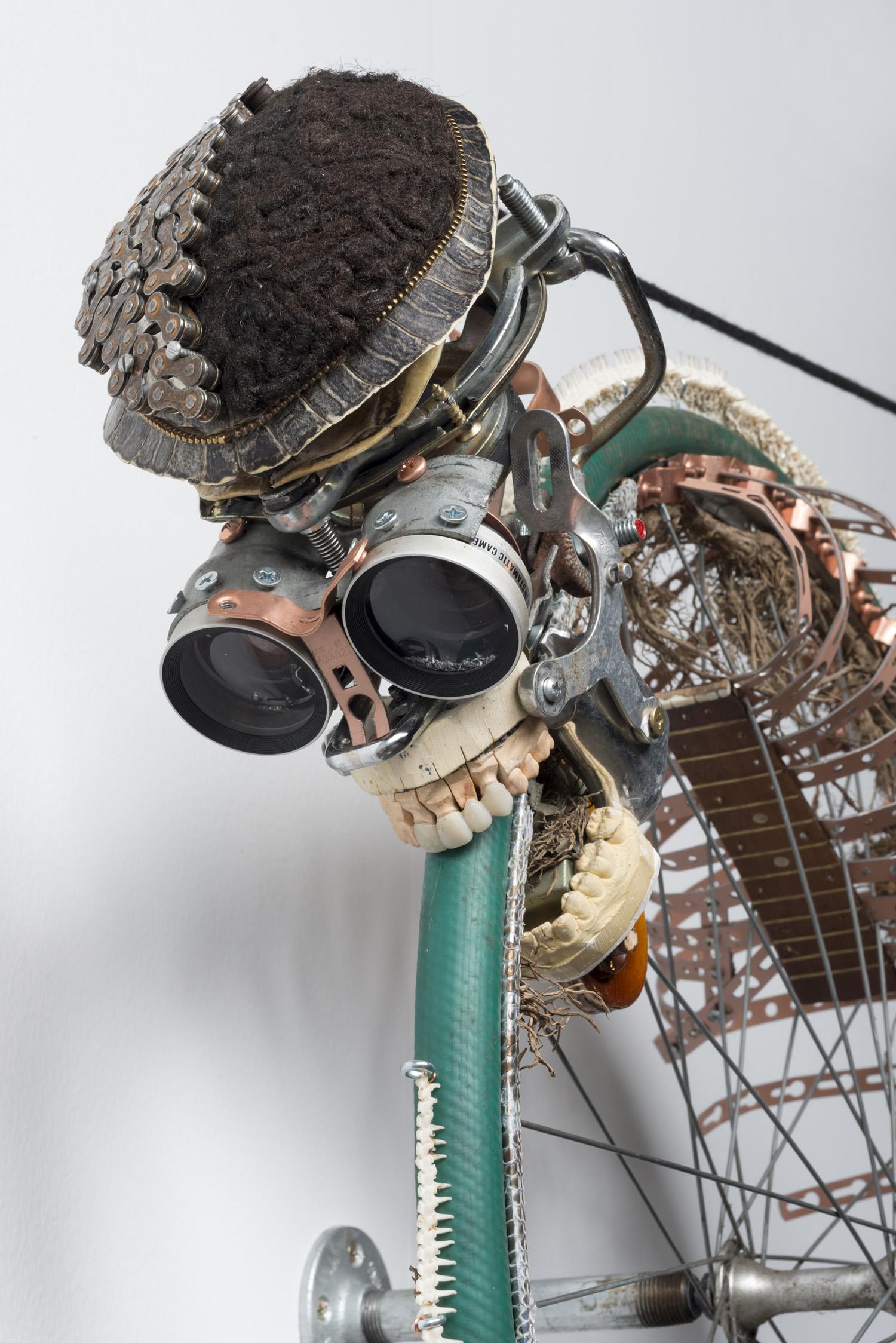 Lorna Williams-Ouroboros-2013-hair, plumbing hardware, violin parts, photography lenses, snake vertebrae, bike wheel, hose, ukulele neck, bike chain, plaster teeth, bike seat, speaker, snake shedding, root, rope, cement-88x60x13-detail.jpg