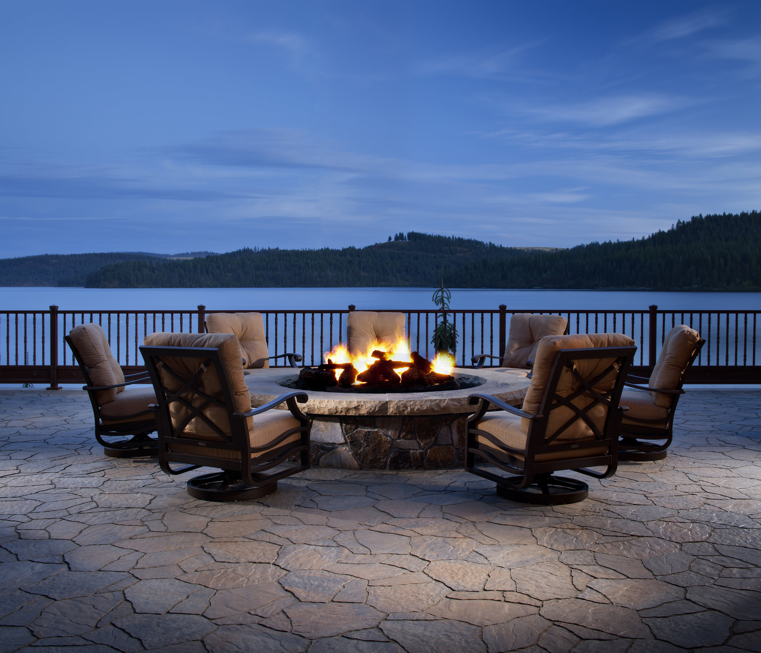 fire pit patio waterfront lake cozy sitting area relax