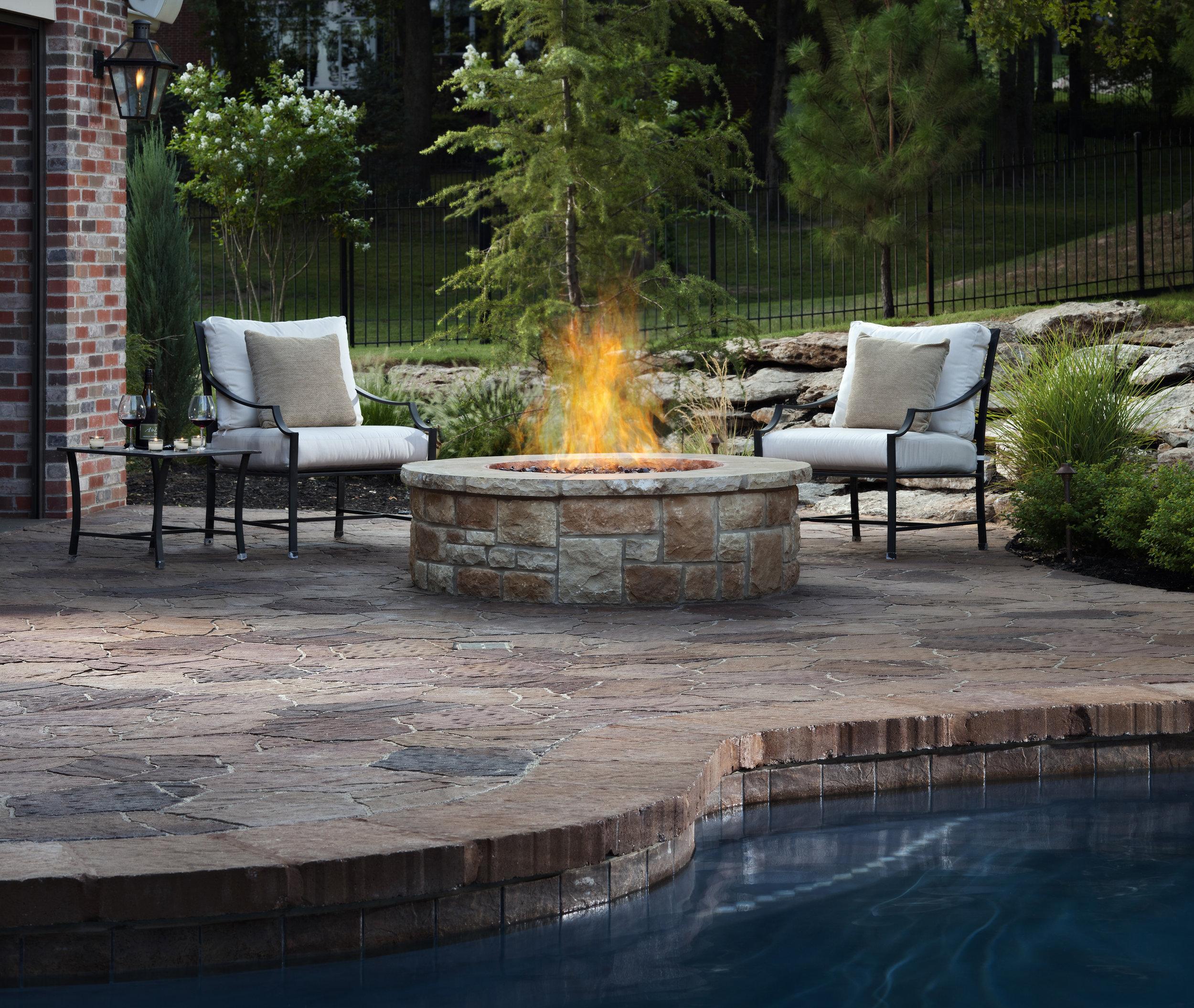 fire pit pool landscape paver patio natural stone pool