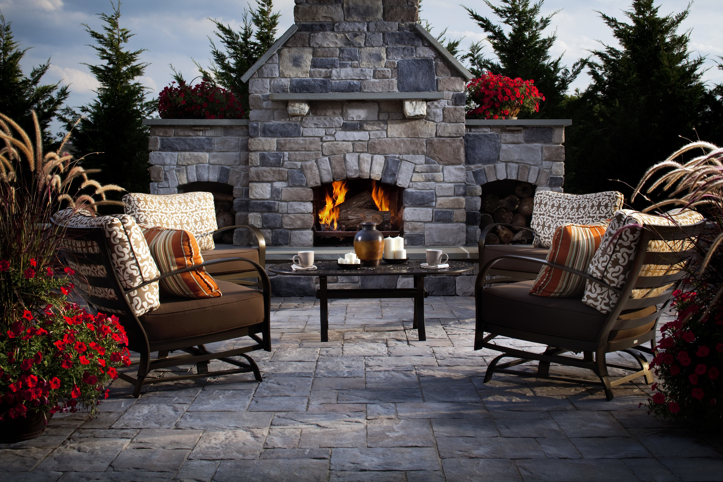 outdoor fireplace patio paver plantings outdoor room paradise relax wood burning natural gas