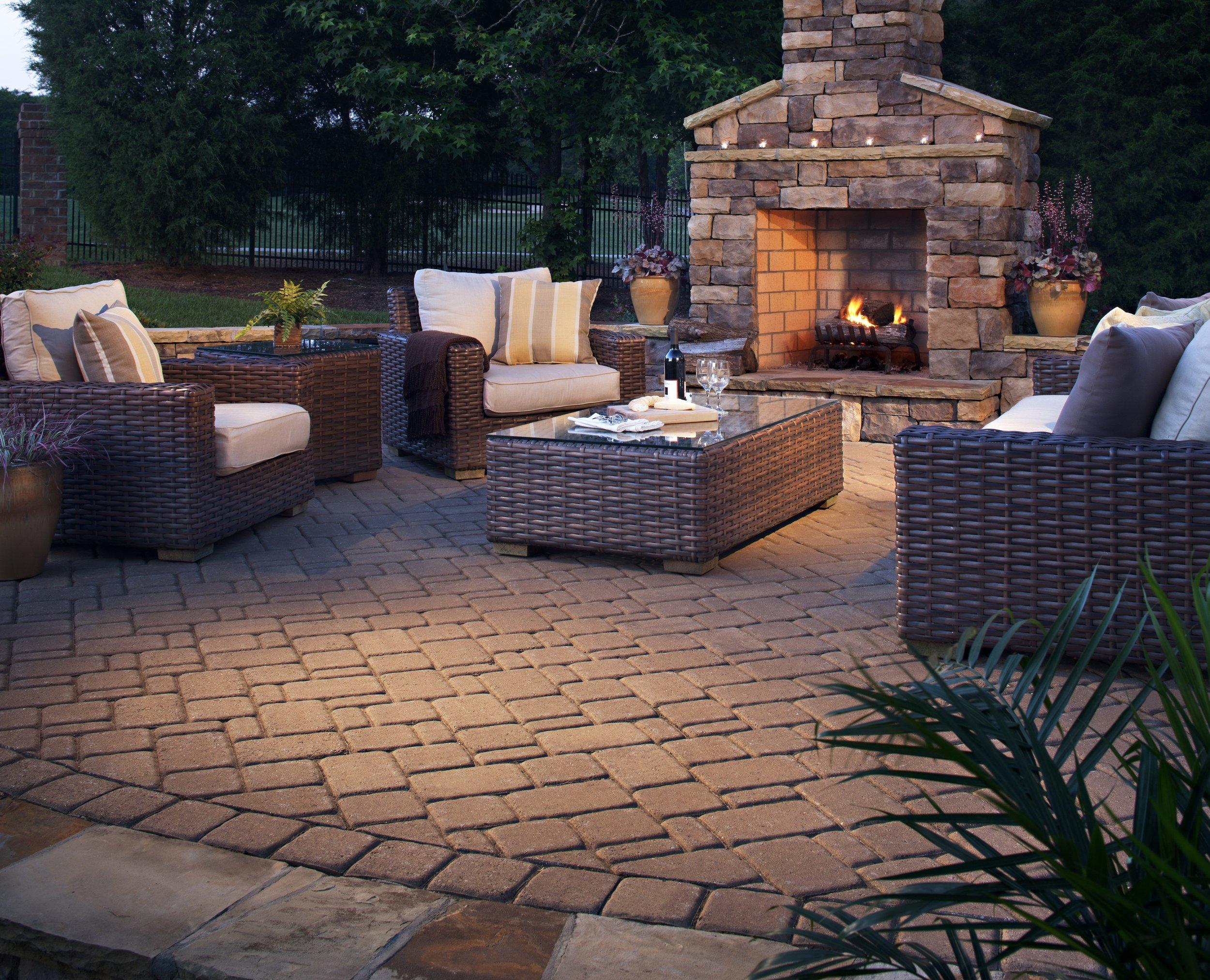 outdoor fireplace paver patio landscape plantings