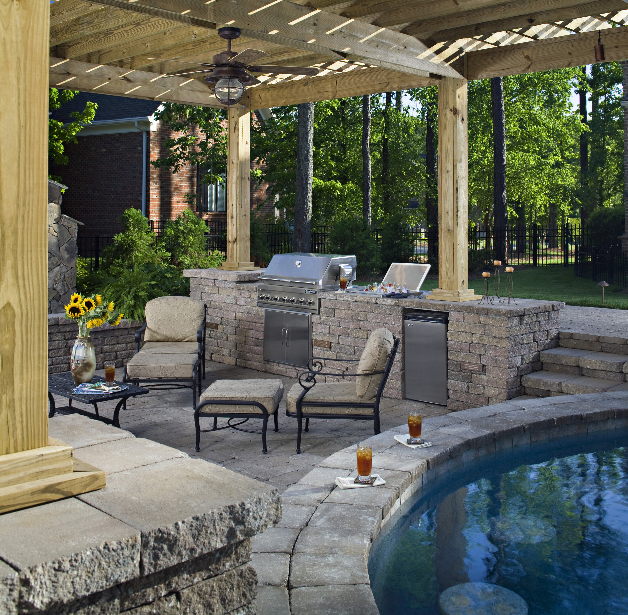 outdoor kitchen dining patio pool landscape design