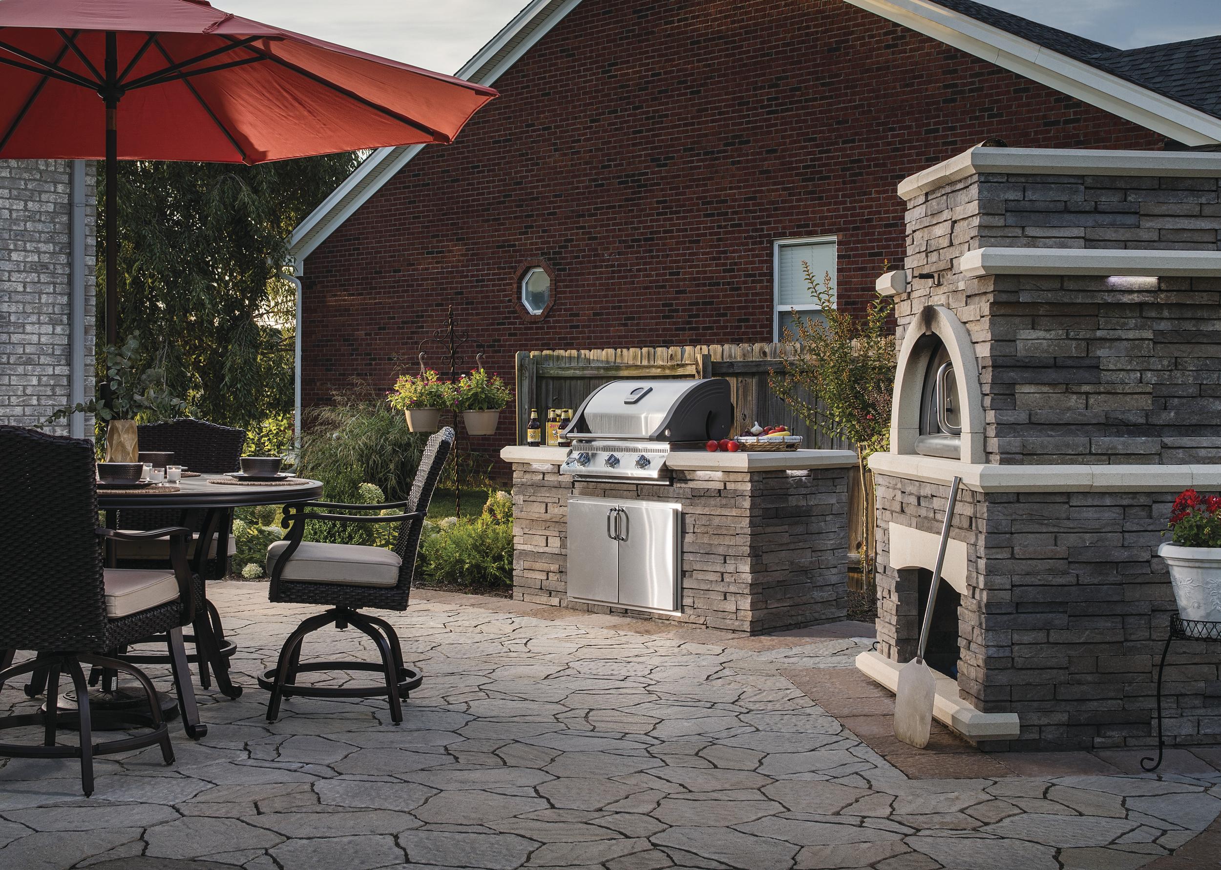 outdoor kitchen pizza kitchen dining brick oven patio landscape design plants