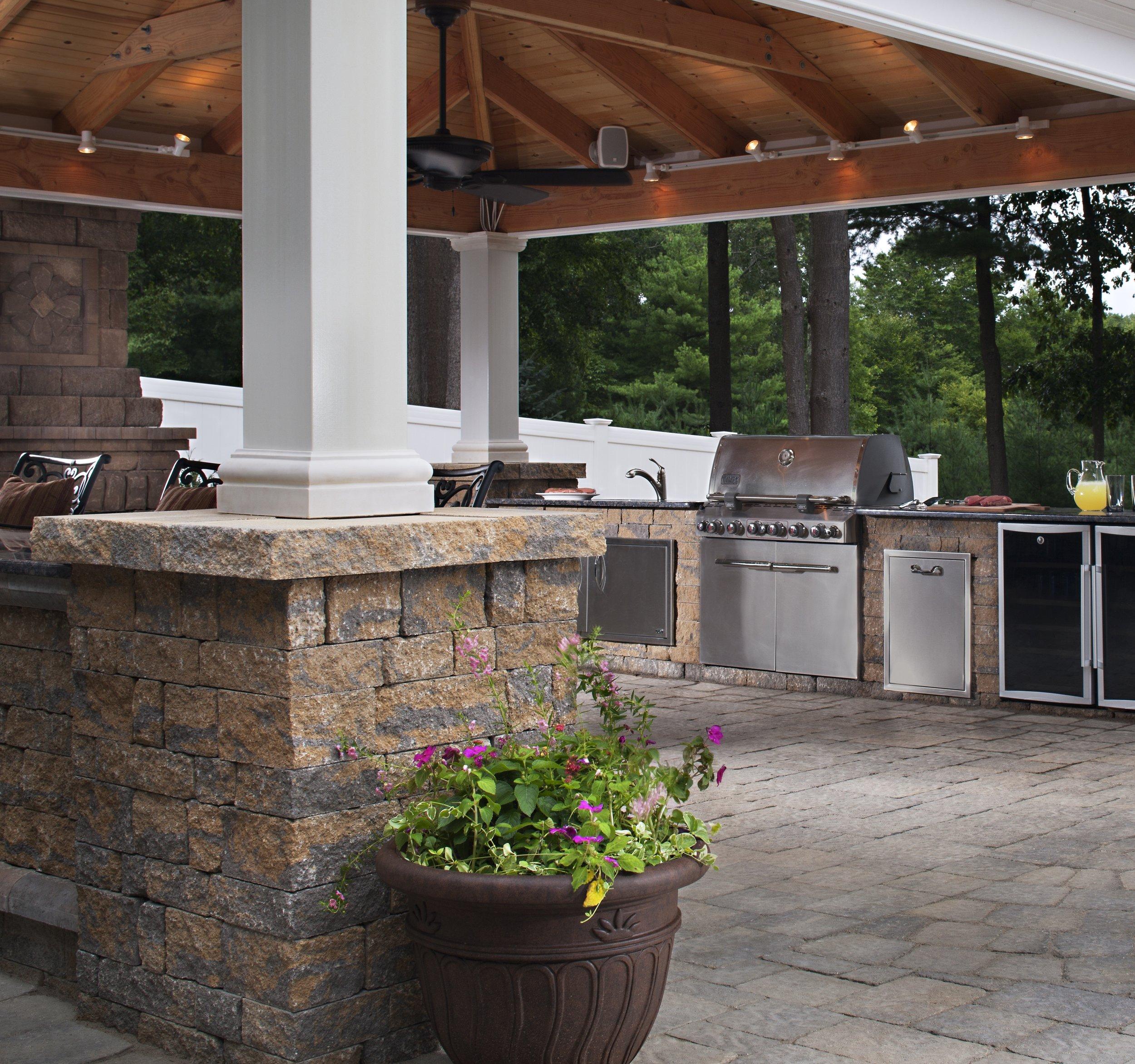 outdoor kitchen patio pavilion covered room landscape design lights backyard bbq dining