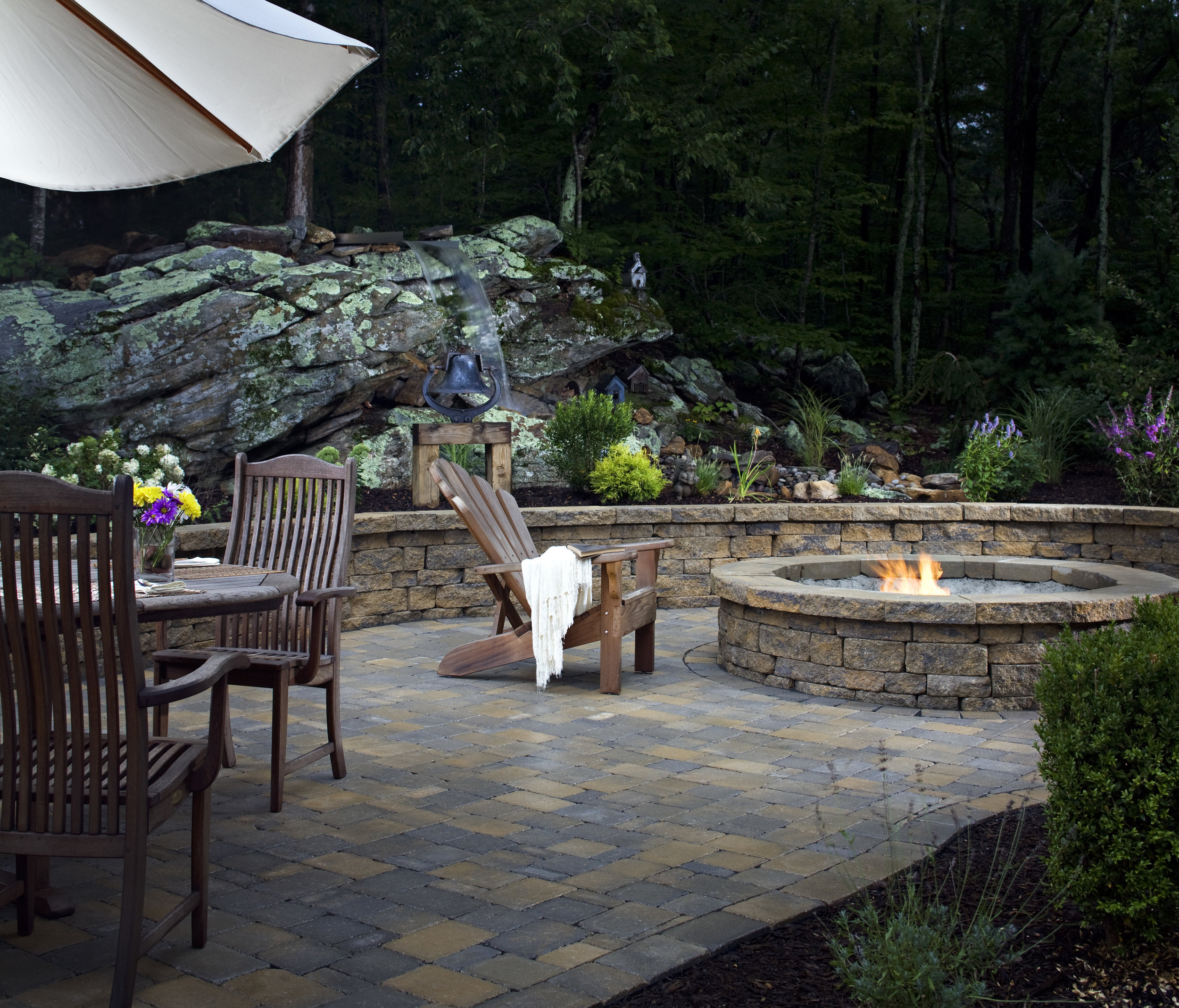 fire pit patio retaining wall outdoor room living landscape design