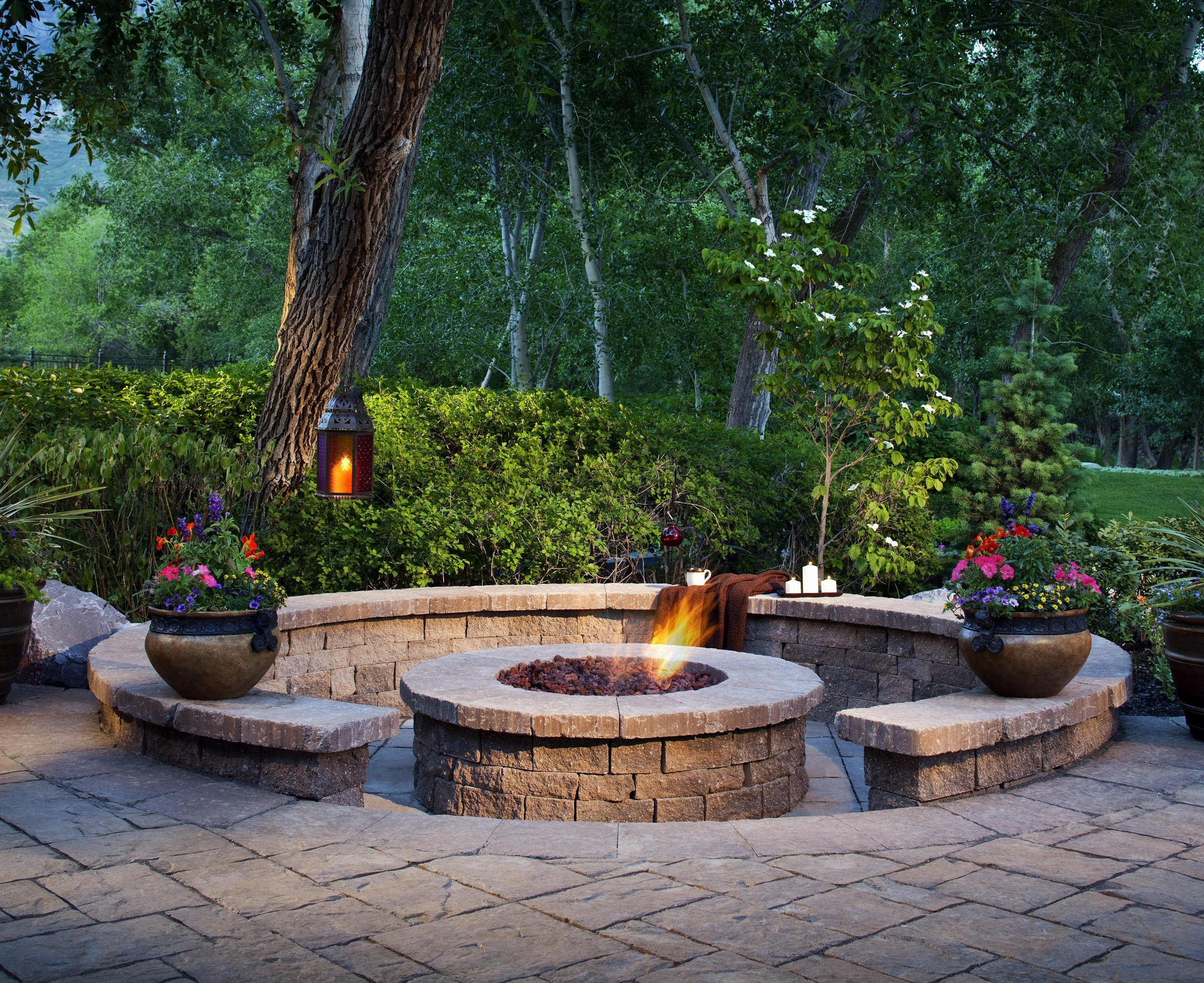 fire pit patio sitting wall landscape design backyard