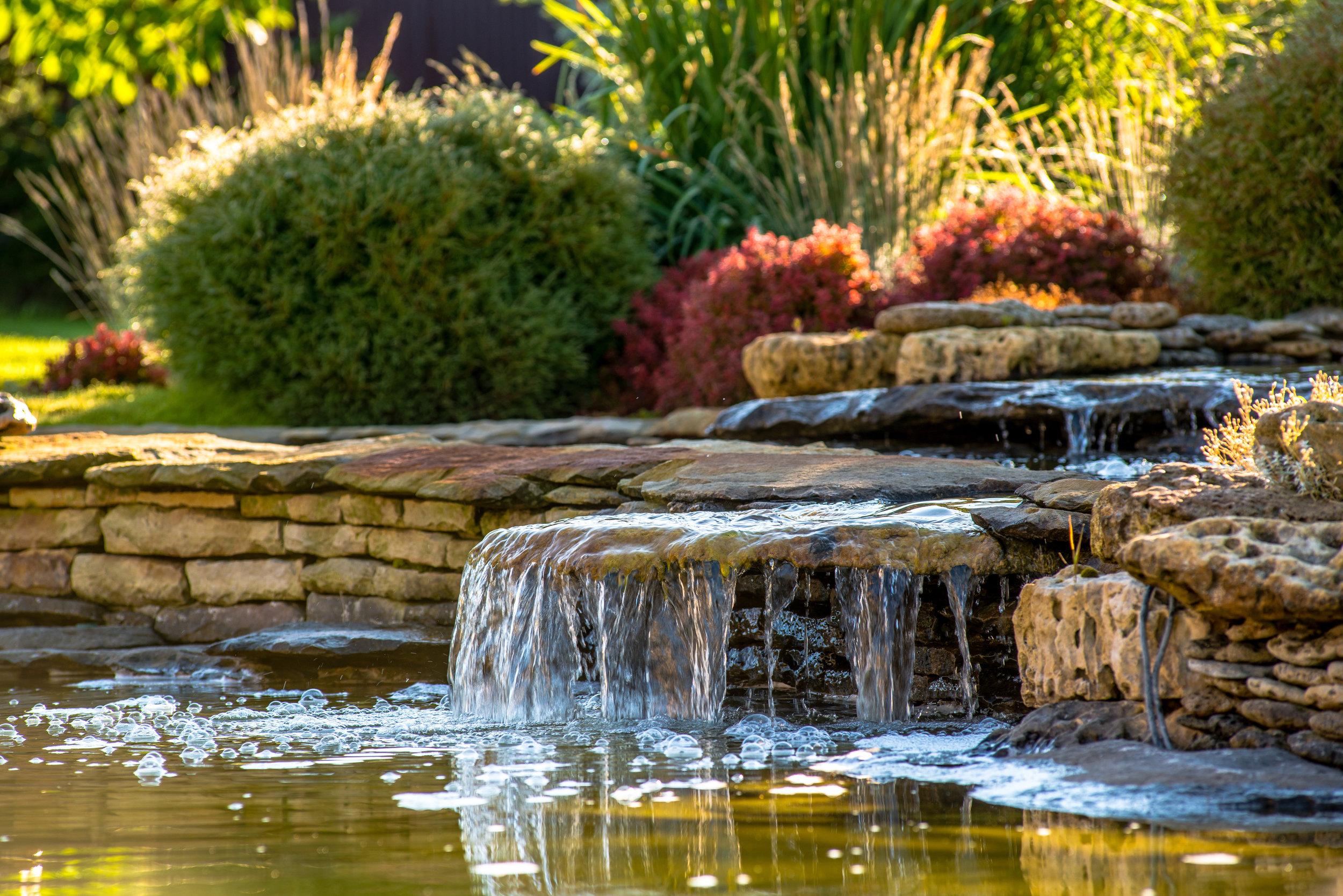waterfall landscape design plantings