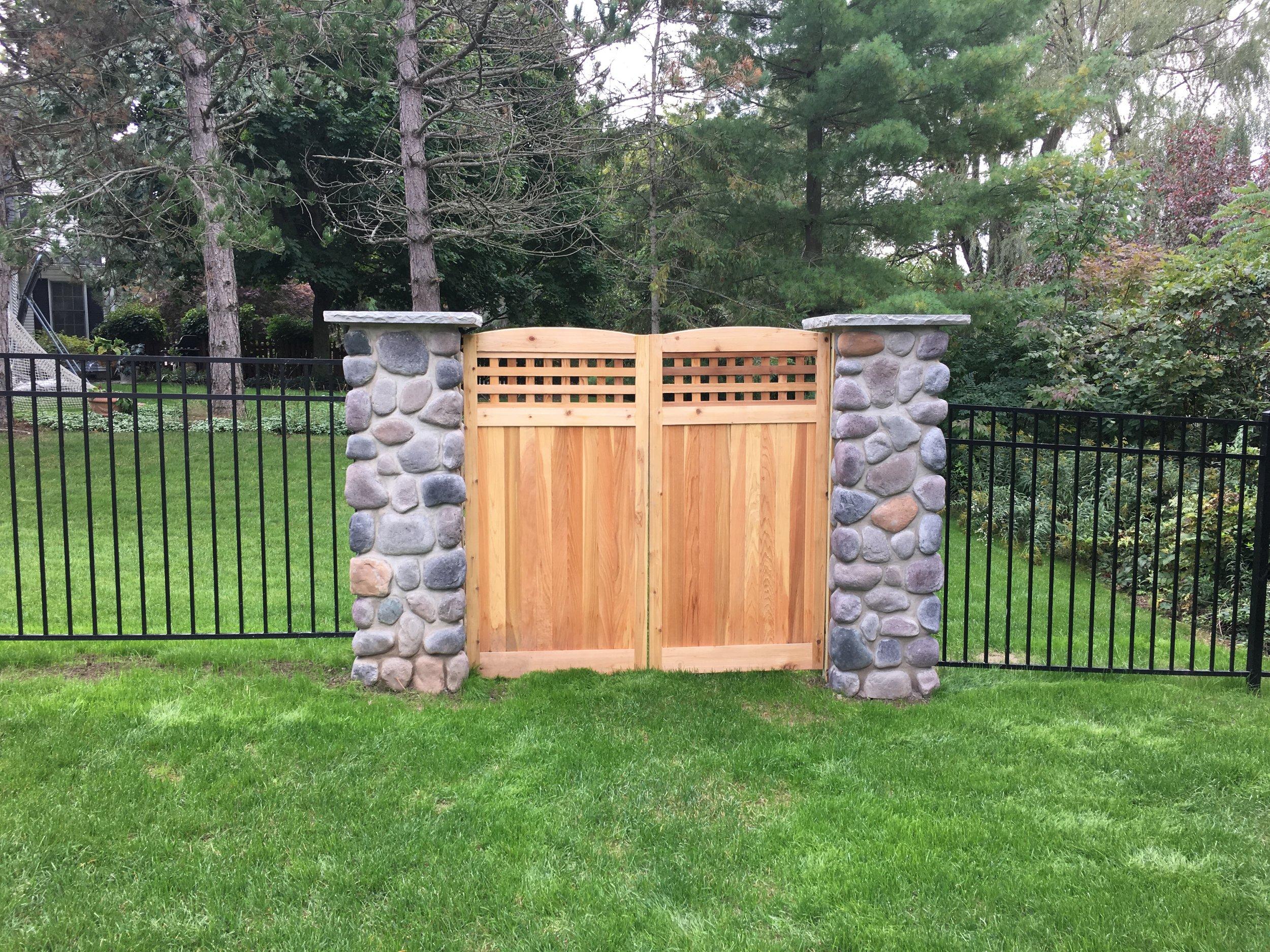 fence pillar custom gate landscape design black aluminum 3 rail