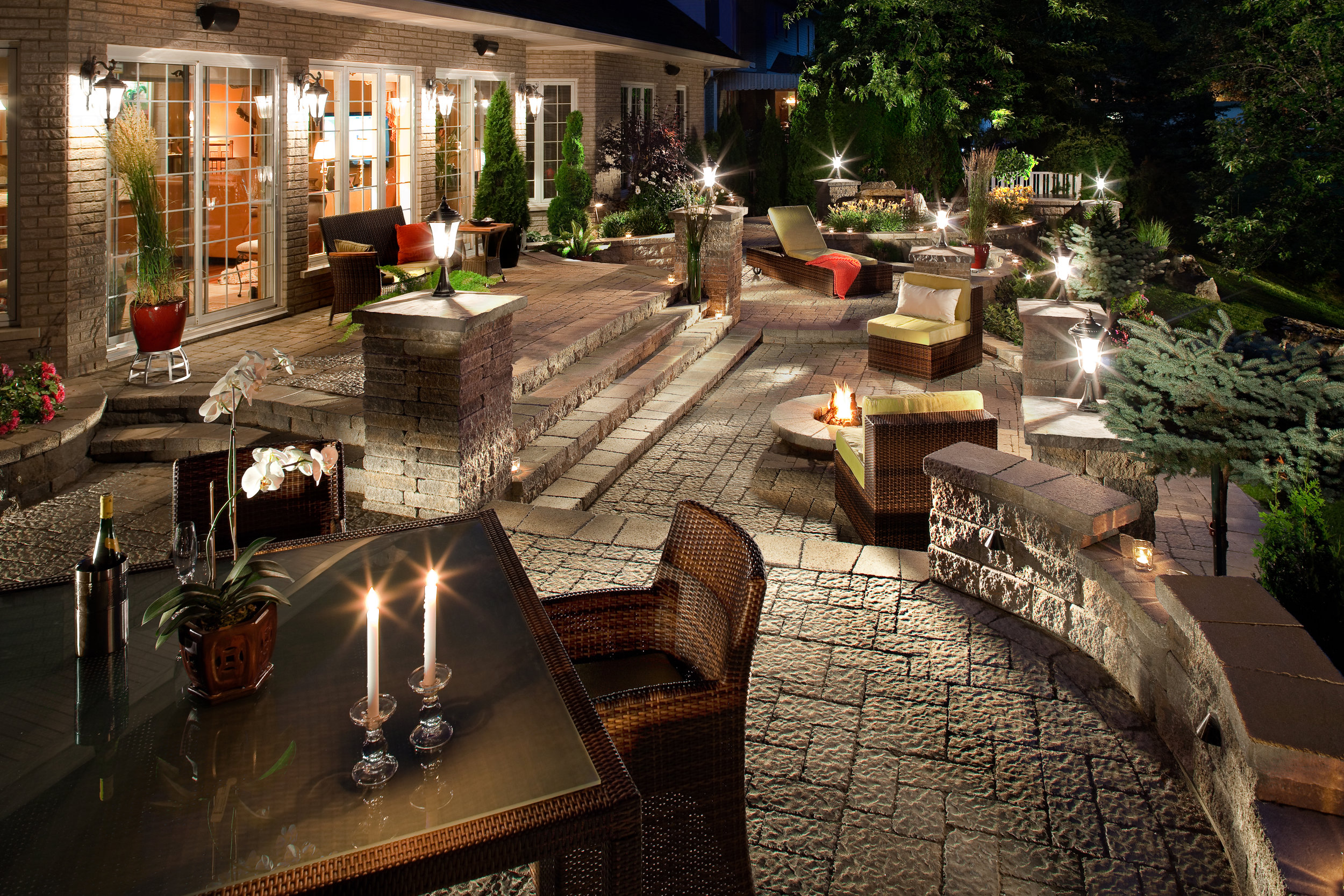 landscape lighting patio design plantings retaining sitting wall.jpg