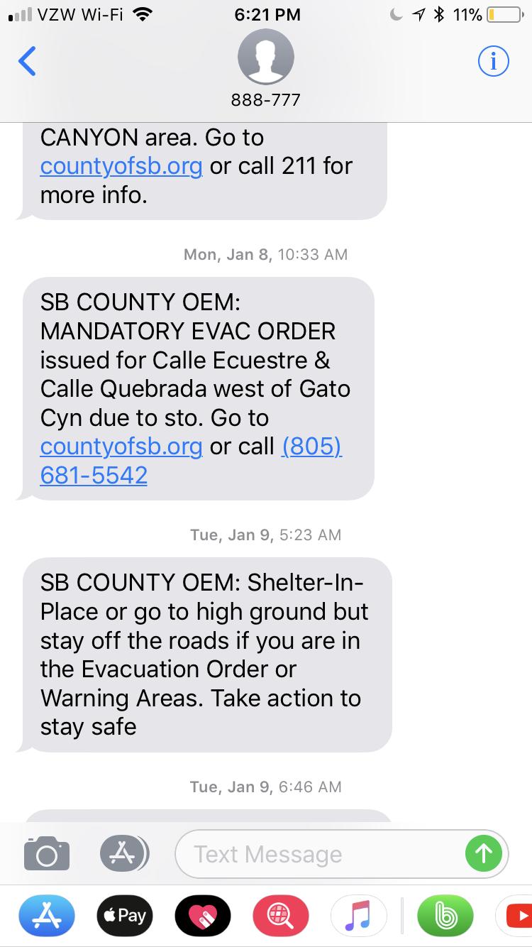 Montecito Mudslides - Santa Barbara County Text Alert 2