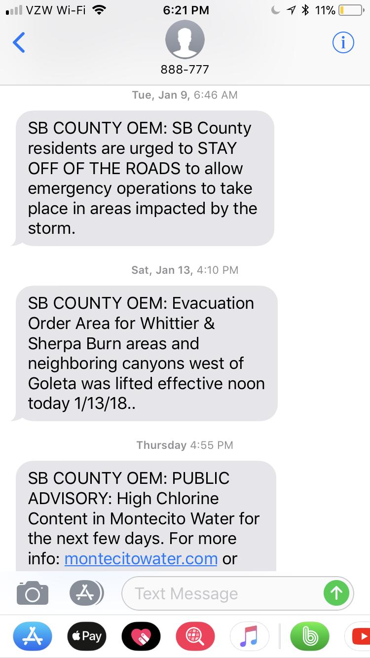 Montecito Mudslides - Santa Barbara County Text Alert 3