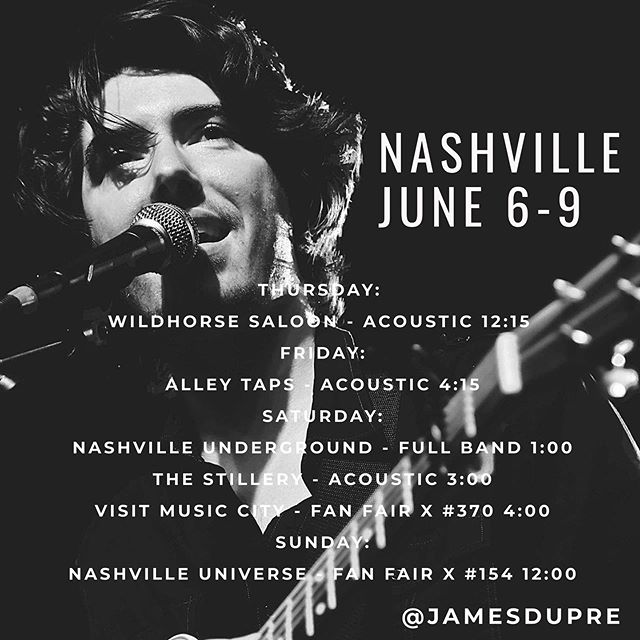 Hey y'all! If you're in Nashville for #CMAFest this coming week, come stop by! I'll be playing some new songs & old favorites.