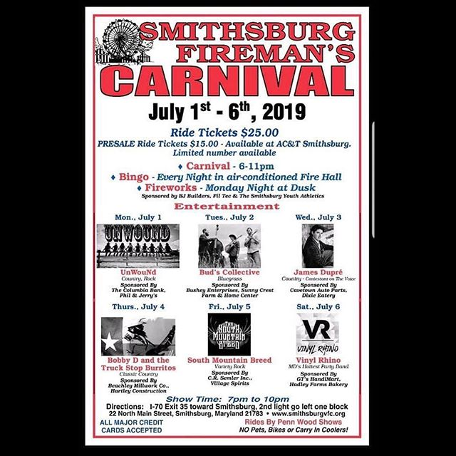 See y'all in Smithsburg, Maryland on Wednesday!