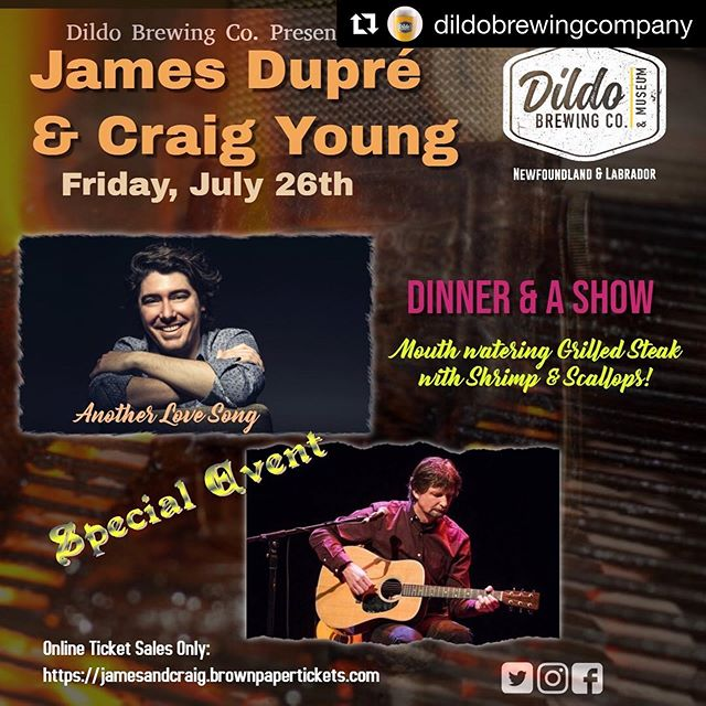 Hey Newfoundland, I'm headed back to Dildo! #Repost @dildobrewingcompany ・・・ 🎉Special Event 🎉  We are pleased to announce that James Dupre and Craig Young are back at the @dildobrewingcompany on July 26th... Tickets are on sale now, click the link below and get your tickets before there gone 🍻 .  For tickets click or copy and paste 🔜 https://m.bpt.me/event/4291588