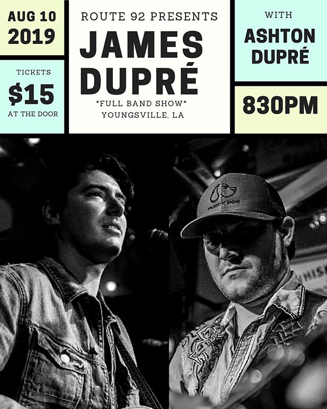 We are just ONE MONTH AWAY from seeing y'all at Route 92 in Youngsville, LA on Saturday, August 10! Ashton Dupré will get things started for us and we'll party all night! Y'all come see us! *Tickets available at the door.* *Ages 18+*