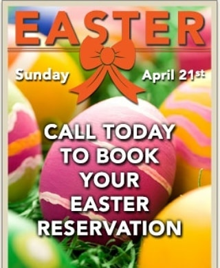 Don't forget to make your Easter Reservations soon...slots are filling quickly! Join us for a delicious brunch and some great Morning cocktails! #easterbrunch #takingreservations #happyeaster #irishsession