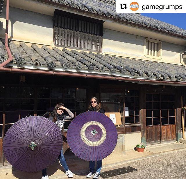 @mortemer and @girlgamergab on Mima's Udatsu Street!  #Repost @gamegrumps ・・・ Suzy on historic udatsu street with @girlgamergab!