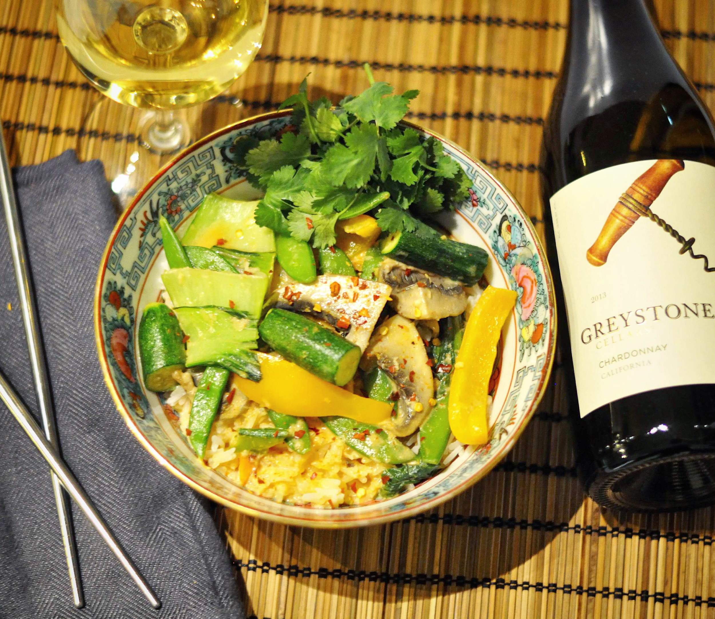 Red curry and wine