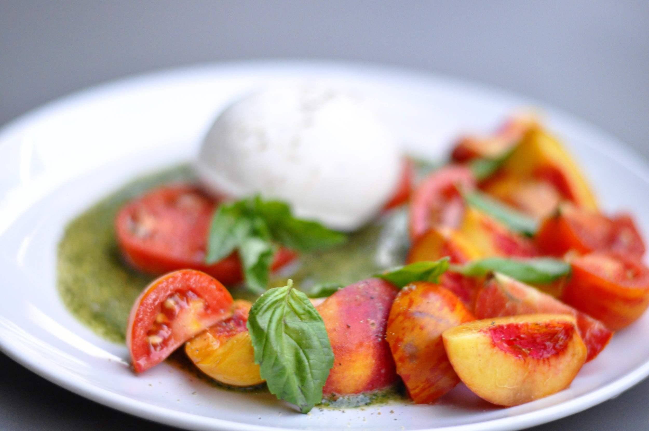 Peach and Tomato Salad with Burrata Recipe