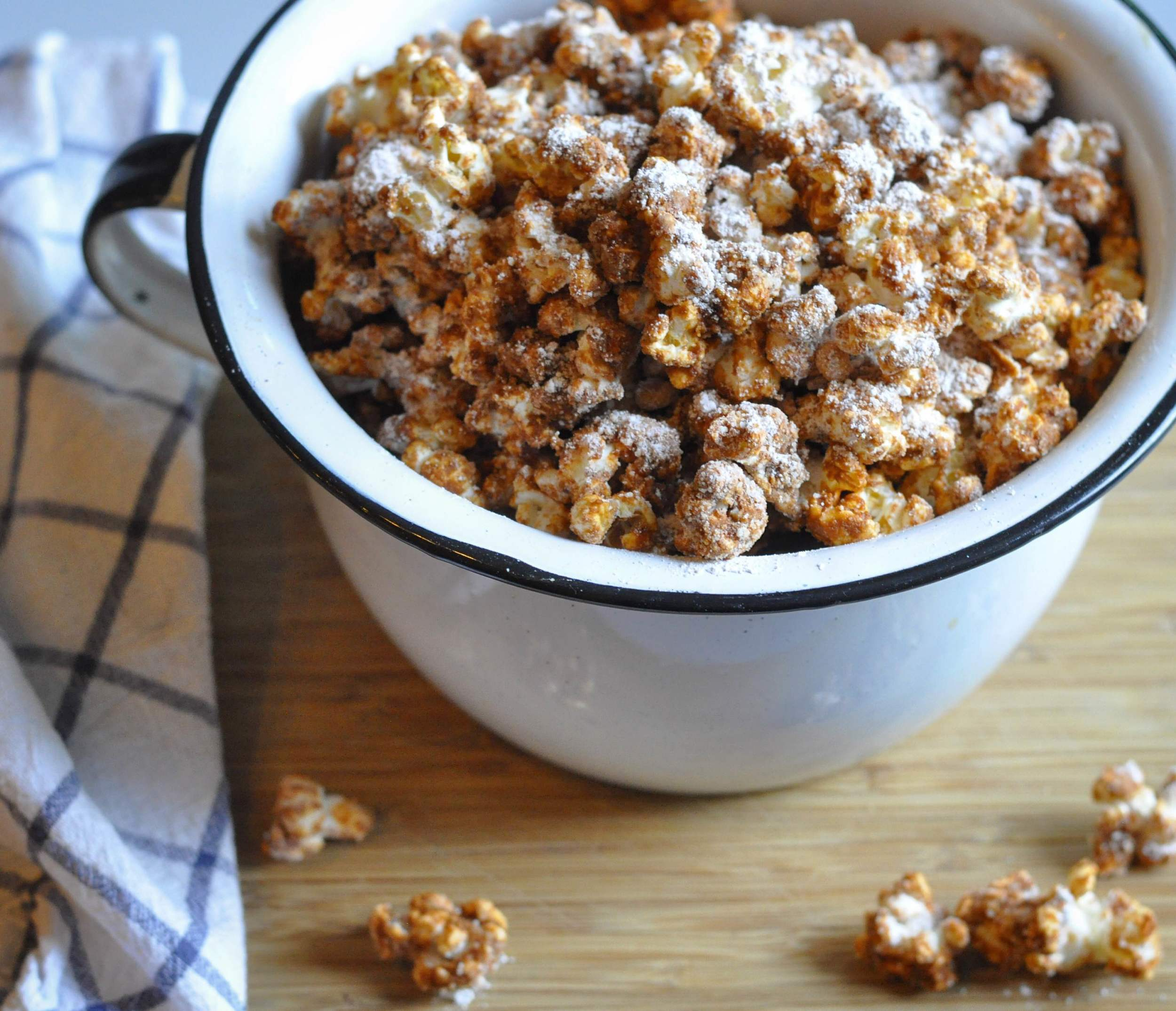 Homemade Dessert Churro Popcorn Recipe - www.coupleinthekitchen.com