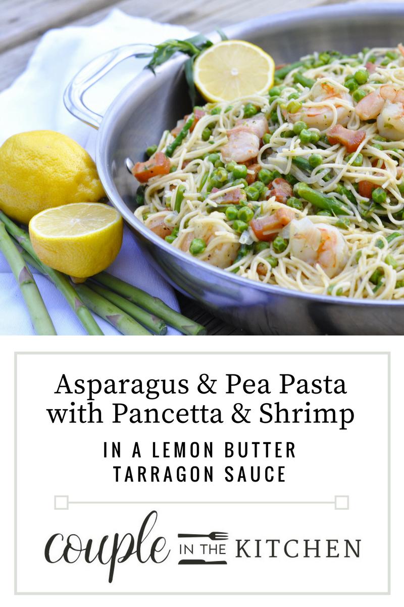 Asparagus and Pea Pasta with Shrimp and Pancetta | coupleinthekitchen.com