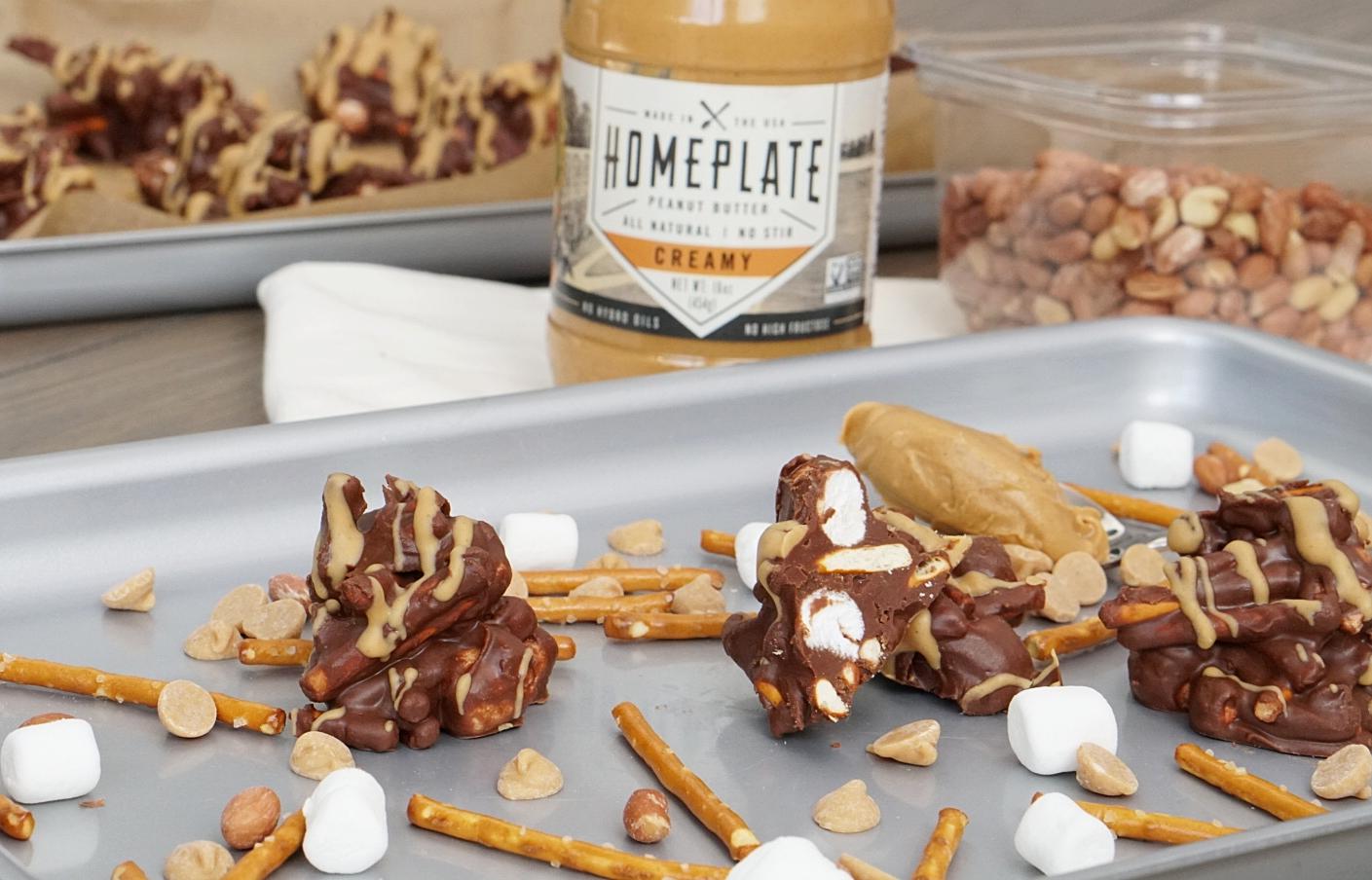 No Bake Cookies - Peanut Butter Chocolate Pretzel Clusters