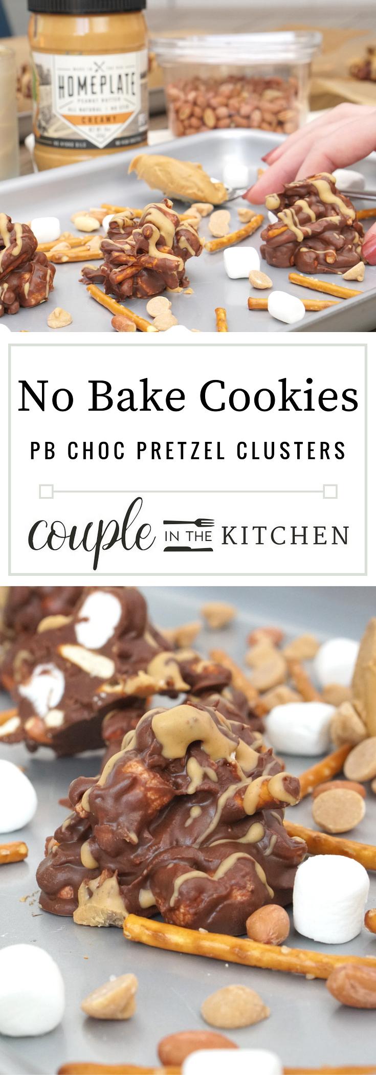 No Bake Cookies - Peanut Butter Chocolate Pretzel Clusters | coupleinthekitchen.com