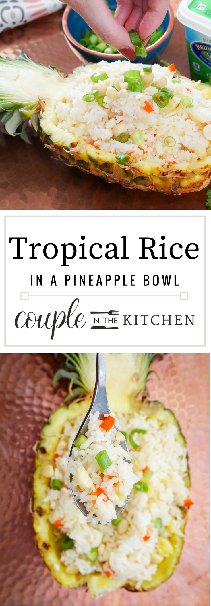 Tropical Coconut Rice in a Pineapple Serving Bowl | coupleinthekitchen.com
