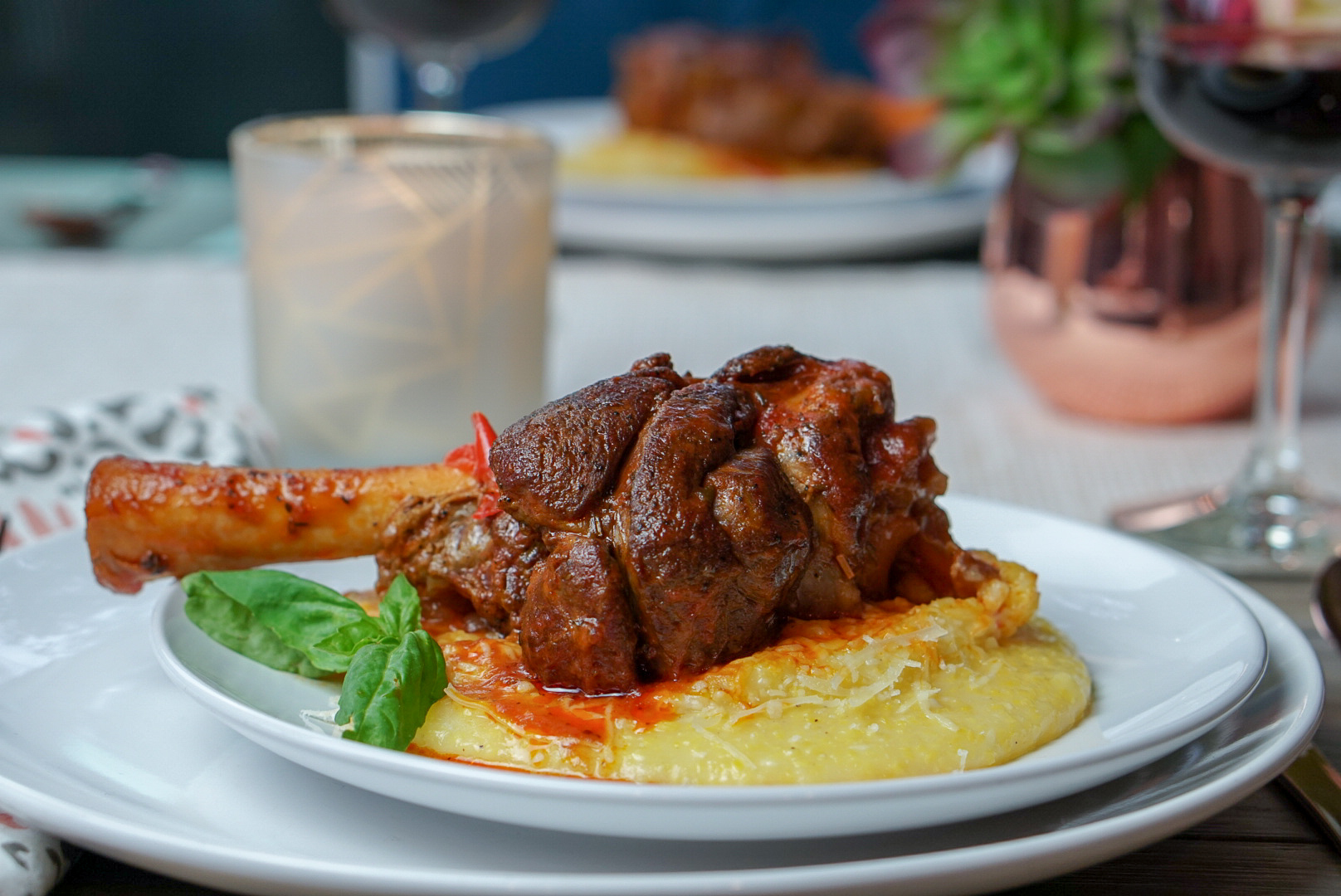 Braised Italian Lamb Shanks with Parmesan Polenta | coupleinthekitchen.com
