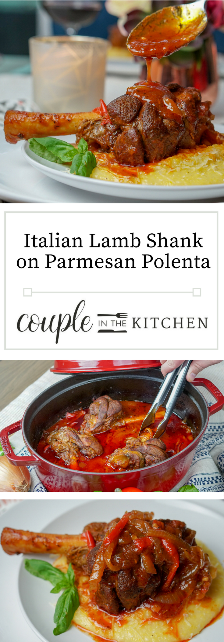 Italian Braised Lamb Shanks with Parmasan Polenta | coupleinthekitchen.com
