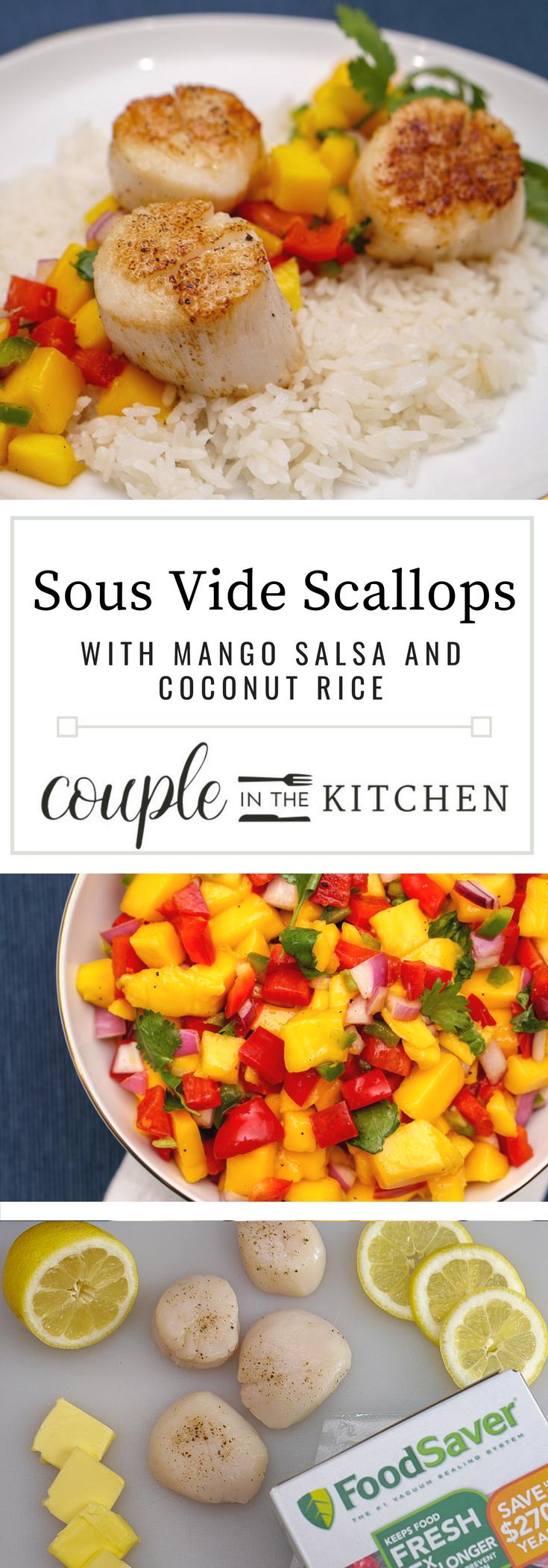 Sous Vide Scallops with Mango Salsa and Coconut Rice   coupleinthekitchen.com