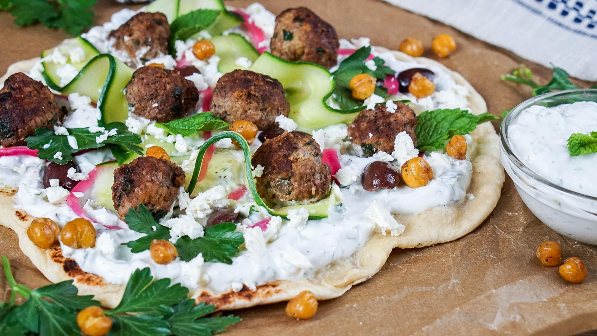 Greek Flatbread Pizza with Lamb Meatballs | coupleinthekitchen.com